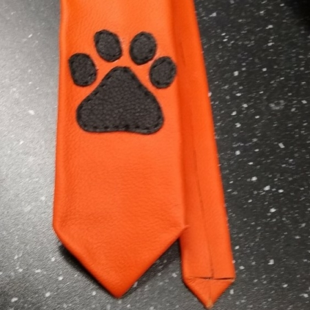 Orange Leather Tie with Black Paw