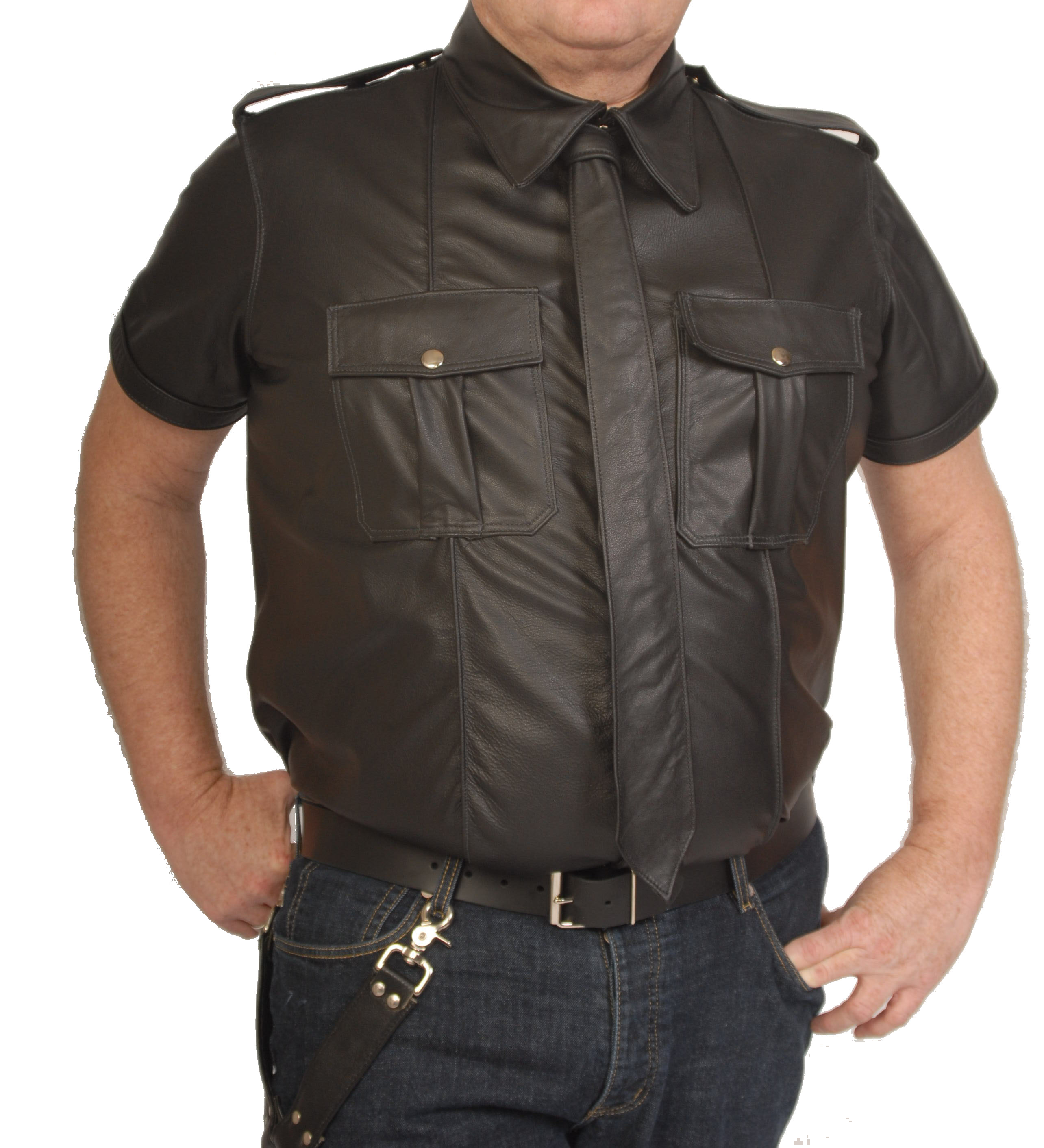 Leather Police Style Uniform Shirt Custom Made By Leather