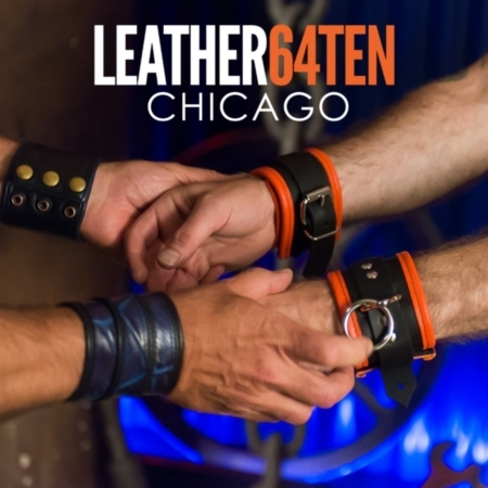 buckle orange piped leather bdsm restraint cuffs