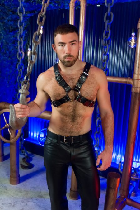 Classic buckle leather chest harness