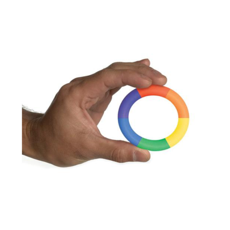 Rascal Toys The Brawn Pride Rainbow 3X Stretch Silicone Cockring in hand