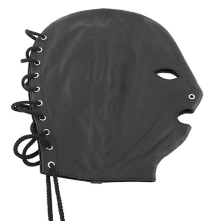 leather lace up hood mask by Rouge