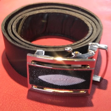 Genuine Stingray Buckle With Custom Leather Belt