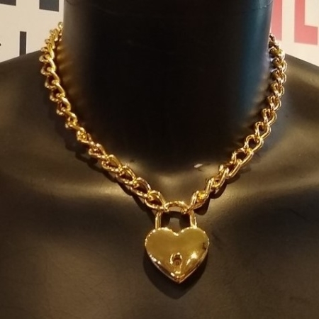 Devil's Keeper 18 inch Gold Chain Collar and Heart Lock