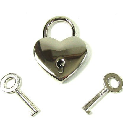 Large Chome Heart Lock with 2 keys