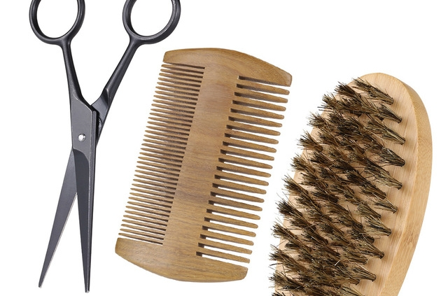 beard brush-comb-scissors