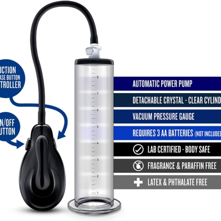 Performance Vx9 Auto Penis Pump Clear with bullet points
