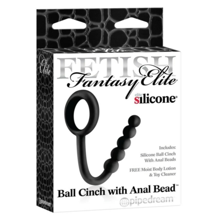 Fetish Fantasy Elite Ball Cinch With Anal Bead Silicone Black in box