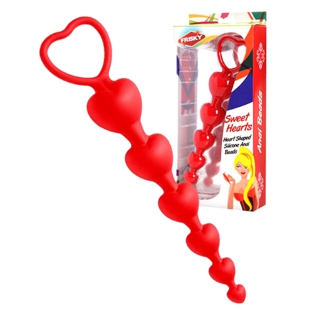 Frisky Sweet Hearts Silicone Anal Beads Red 6 Inches