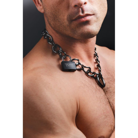 Tom of Finland Locking Chain Cuffs modeled as collar