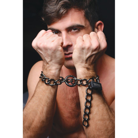 Tom of Finland Locking Chain Cuffs with Model
