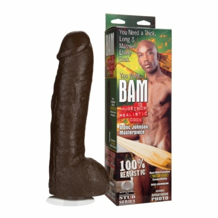 Bam Huge Realistic Cock 13 Inch Brown with box