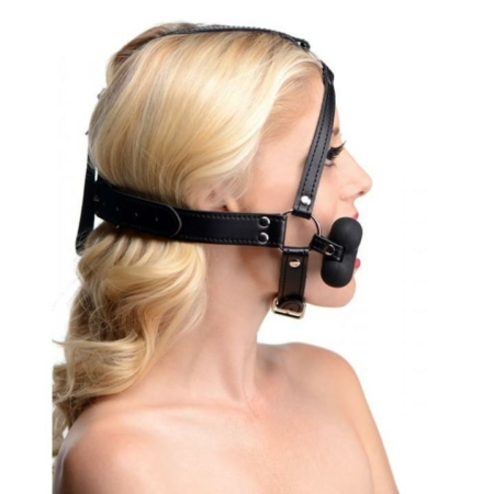 Master Series Hound Bone Silicone Gag Head Harness Black female