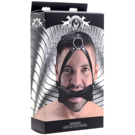 Master Series Hound Bone Silicone Gag Head Harness Black in pkg
