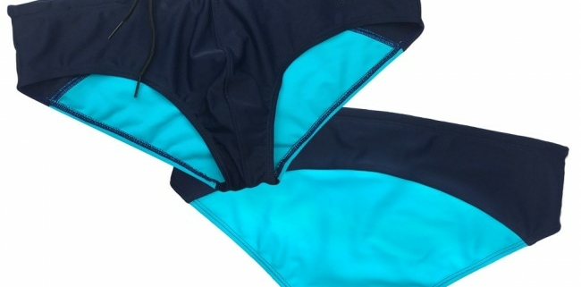 Prowler Swim Briefs Navy & Aqua both sides
