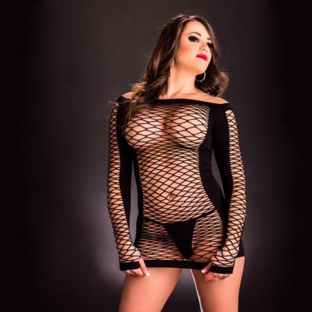 Beverly Hills Naughty Girl Sexy Full Sleeve Diamond Mesh Dress Black