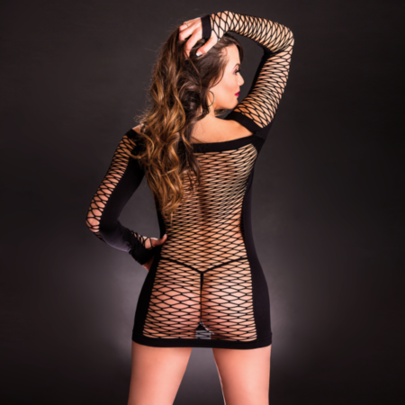 Beverly Hills Naughty Girl Sexy Full Sleeve Diamond Mesh Dress Black back