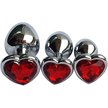 Booty Sparks Red Heart Anal Plug Red and Silver gem view