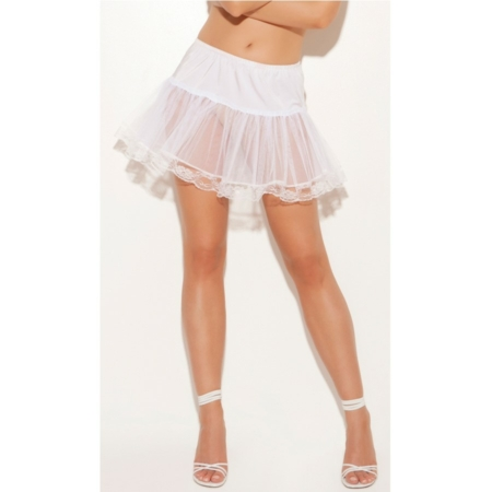 Lace Trim Petticoat Tutu Under Skirt white