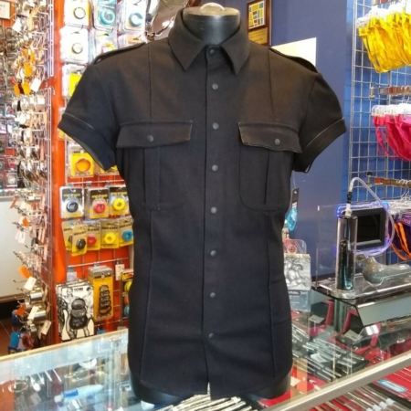 Northbound Leather Black Stretch Denim Faux Leather Shirt front