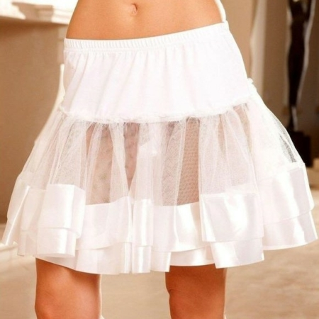 Satin Trim Petticoat Tutu Under Skirt white