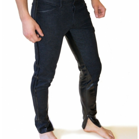 black stretch denim pants