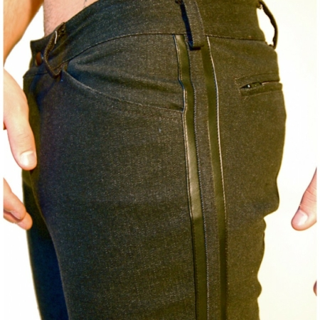 black stretch denim pants side