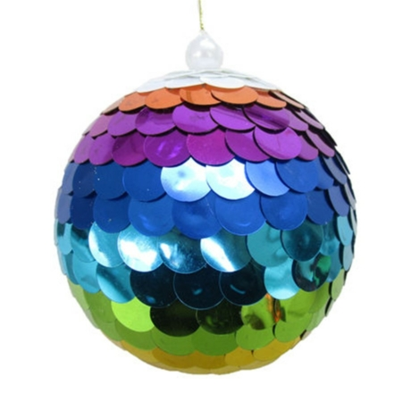 5 inch Rainbow Sequin Ball Ornament