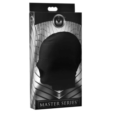 Master Series DISGUISE Black Spandex Hood with Open Mouth and Padded Blindfold in pkg
