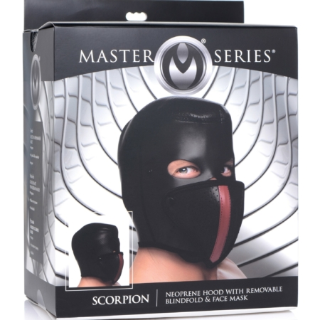 Master Series Scorpion Hood with Removable Blindfold and Face Mask in pkg